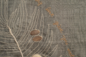 Detail of I Wish You Wings, Moire sold , silk thread, found objects, 2012 (photo by Josh Wells)