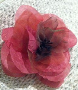 A rose made in a workshop from silk dyed and stiffened by Trudi Pollard and taught by Rose Crane from Gwendoline Grace and Gatsby Hats http://www.ggghats.com.au