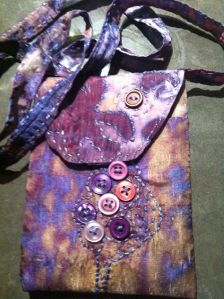 Silk scarf , deconstructed screen printing, machine and hand stitching, buttons