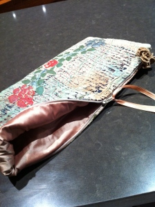 Shot of card holder showing dupion silk lining