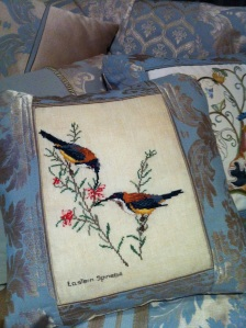 Embroidery by Audrey Ford; cushion construction by Margaret Ford