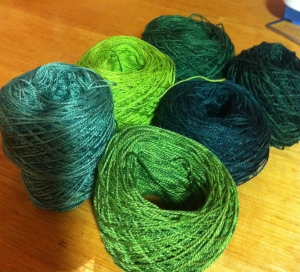 The final skeins turned back into balls again and ready to use.