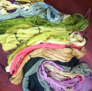 All the dyed, rinsed, heat set where necessary, and dried skeins.