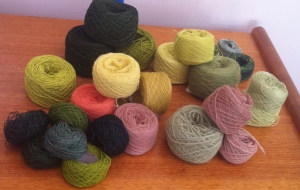 The skeins above after returning them to balls.