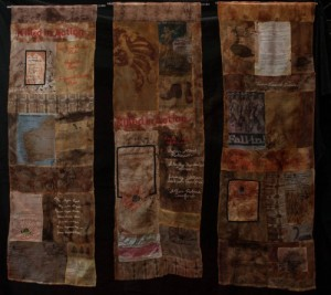 My Western Australian Family, hand woven Cambodian silk, printing, stamping, stencilling, shibori and natural dyeing, hand and machine stitching, made for the WAFTA exhibition, Memory and Commemoration, 2015