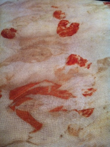 Somewhat brighter silver dollar and ilyarrie prints with copper spray on fine wool fabric.
