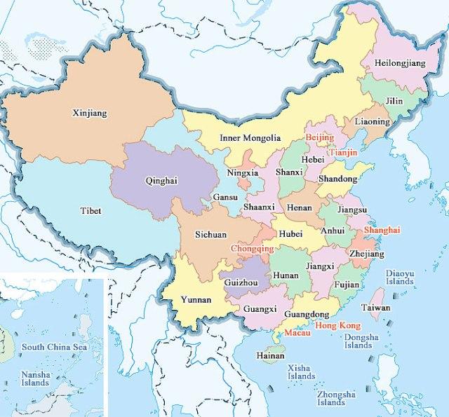 China province and major cities map chinamap